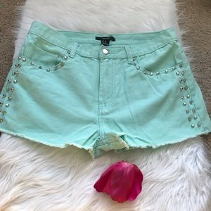 Teal Studded Shorts
